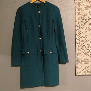 st.john | teal knit long blazer suit 2 piece